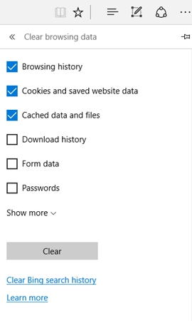 Clear Microsoft Edge Browsing Histories