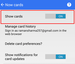 Google App Show Cards On