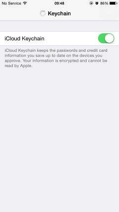 Switch on iCloud Keychain