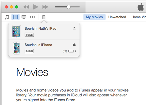 iTunes Device List