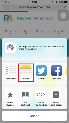 Select Notes in iPhone 6s