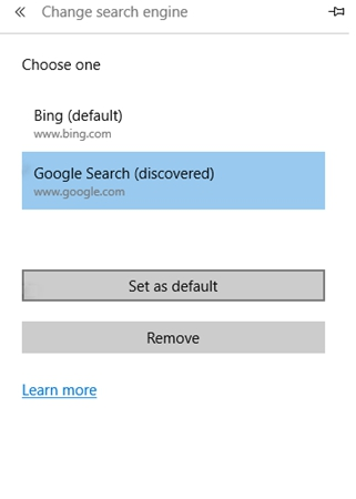 Set Google as Microsoft Edge Search Engine
