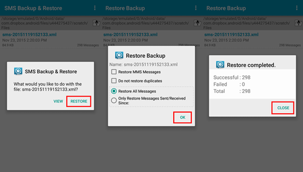 Restore SMS from Dropbox